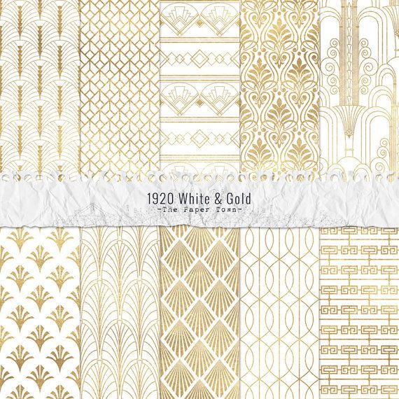 1920 White and Gold Seamless Art Deco Digital Scrapbook Papers  - 10 Jazz Age Great Gatsby Inspired Patterns - JPG - Instant Download