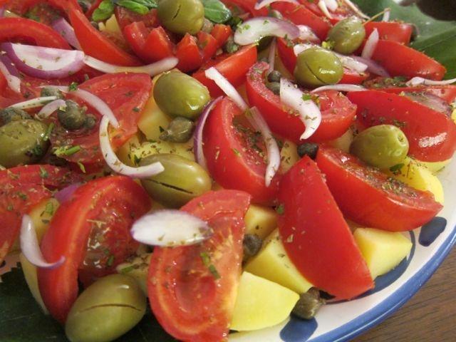 Insalata Pantesca &Warm Caponata -adapted from La Cucina di Pantelleria by Gianni Busetta(full of local recipes)