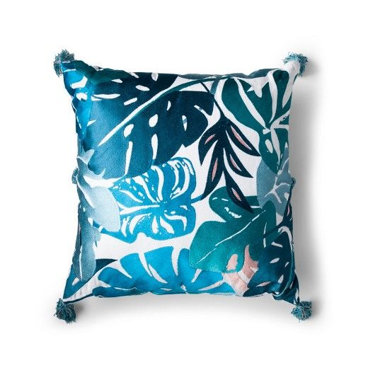 Blue Ojai Leaf Square Throw Pillow - Justina Blakeney for Makers Collective®