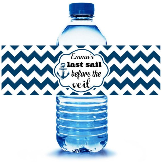 Nautical Party Water Bottle Label 5ct - Nautical Party Supplies - Nautical Party Favors - Nautical Bachelorette Party- FREE Personalization