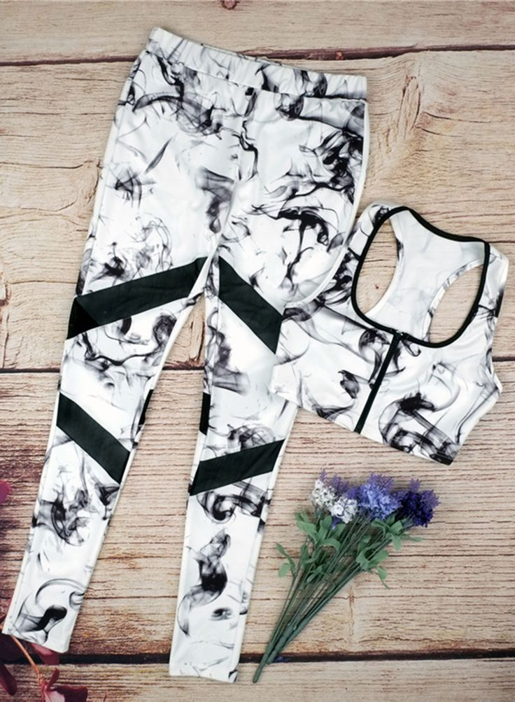 Women's Skinny Printed Bra Leggings Two Piece Sports Set