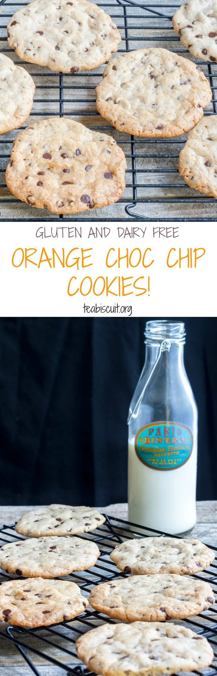 Gluten and Dairy Free Orange Chocolate Chip Cookies! Quick and Easy to make | teabiscuit.org