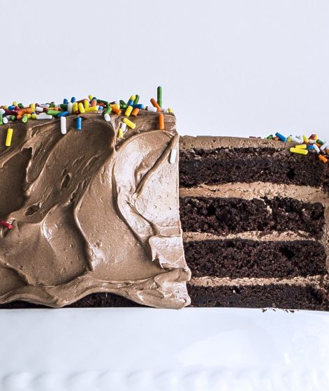 This four-layer chocolate birthday cake is easier than it looks.