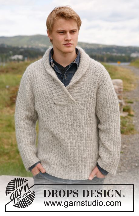 """Knitted DROPS jumper for men with shawl collar in """"Alpaca"""" and """"Kid-Silk"""". Size: S to XXXL. ~ DROPS Design"""