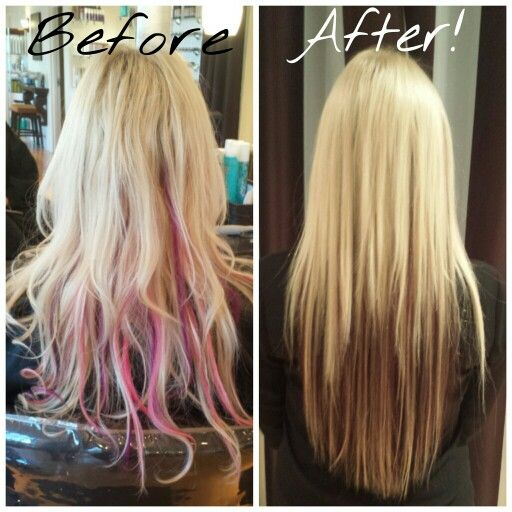43 best its what we do extensions images on pinterest salons purple and pink extensions to a blonde on top to dark underneath this client has tried it all hair color extensions and cut by tina at elle salon ltd pmusecretfo Gallery