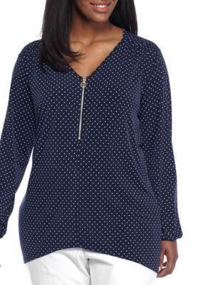 Michael Michael Kors Women's Plus Size Polka Dot Zip Up Top - True Navy - 0X