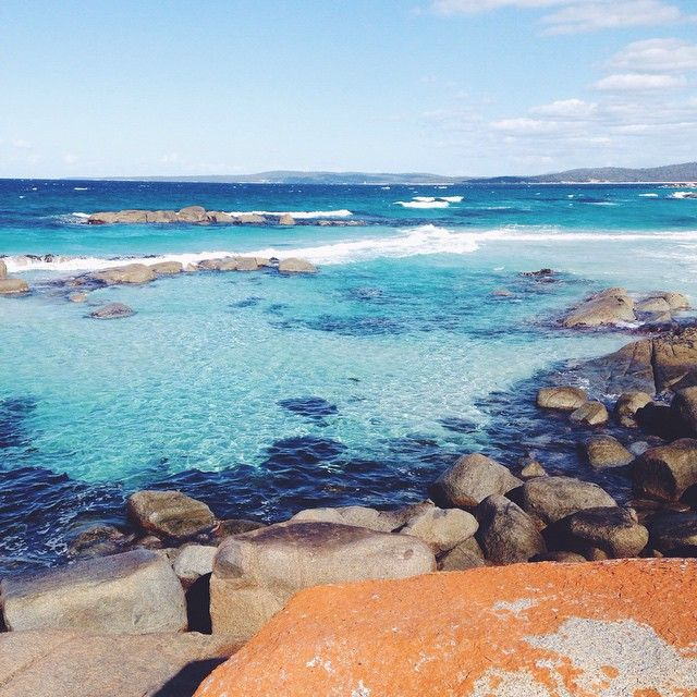 Beautiful autumn day at the Bay of Fires via