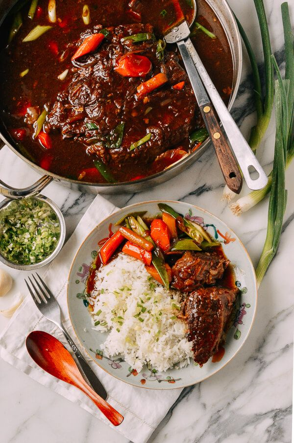 """#Asian #Pot #Roast Recipe by the Woks of Life, is a twist on a classic. Perfect for a fall/winter Sunday dinner, this pot roast isn't overpoweringly """"Asian,"""" but it packs a ton of flavor."""