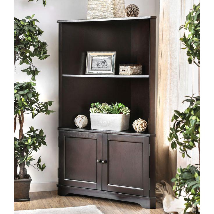 Furniture of America Darrell Wood/ Veneer 2-shelf Corner Bookshelf with Cabinet   Overstock.com Shopping - The Best Deals on Media/Bookshelves