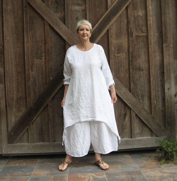 linen dress  tunic in white contemporary Ethnic