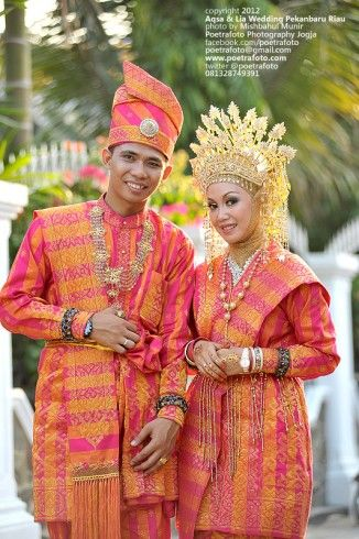 Songket Indonesian traditional muslim  melayu Pekanbaru Riau wedding.