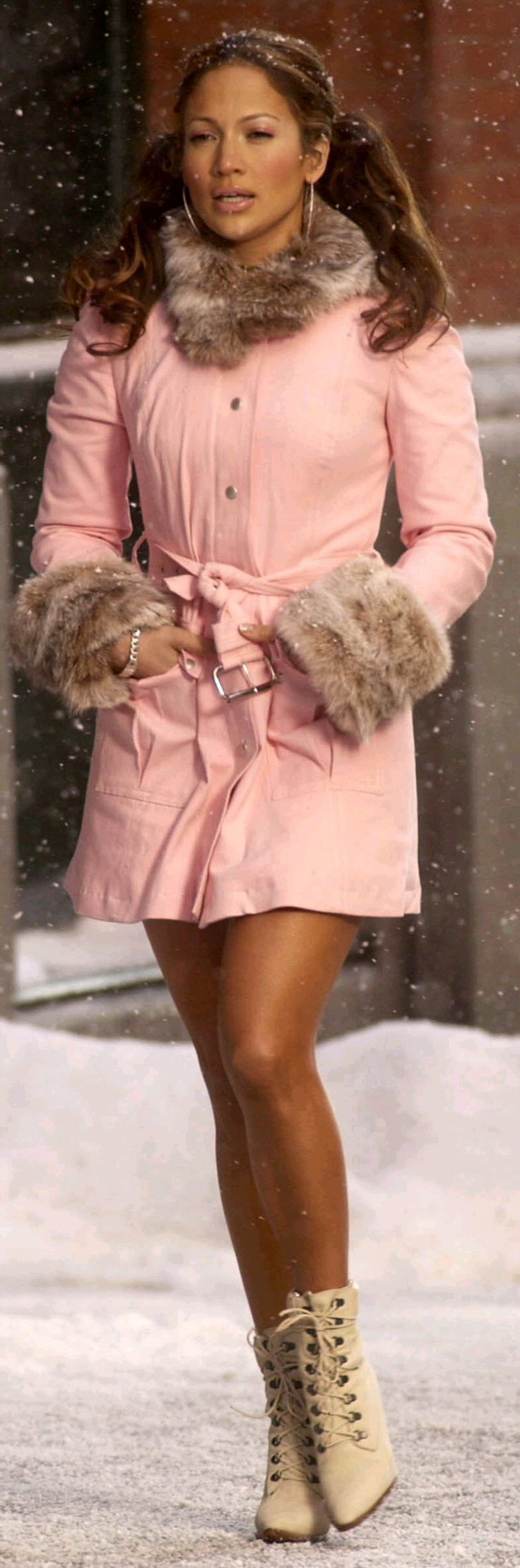 pink coat jacket jennifer lopez & Cat-style boots with heels!