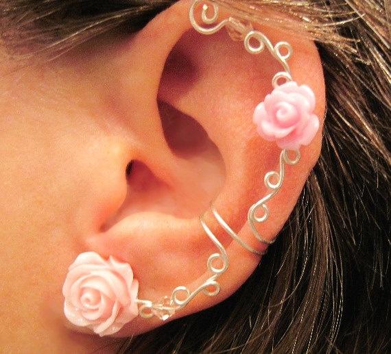 """Non Pierced Ear Cuff  """"Roses are Romantic"""" Cartilage Conch Cuff Silver tone. $12.00, via Etsy."""