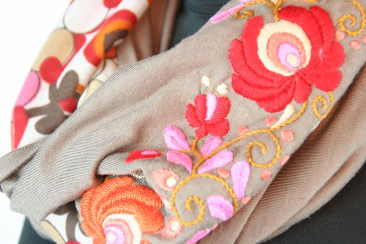 Woman infinity scarf - circle scarf - loop scarf -  hand embroidered - matyo embroidery - brown red dark orange by MatyoKid on Etsy