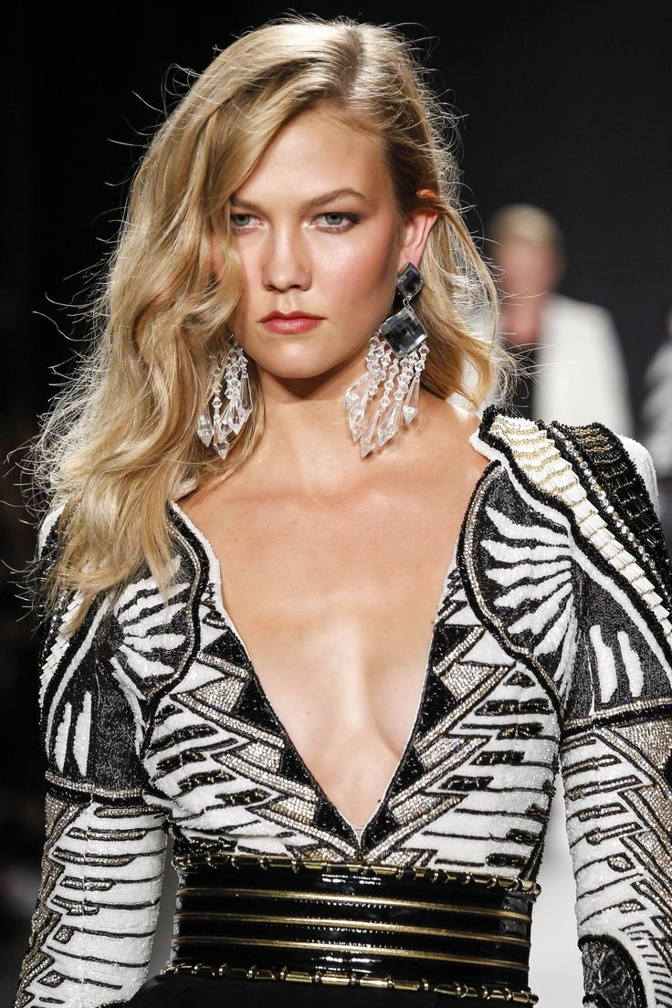 Karlie Kloss walks the runway wearing Balmain x H&M collection during the launch event at 23 Wall Street on October 20, 2015 in New York City. Description from fashnberry.com. I searched for this on bing.com/images