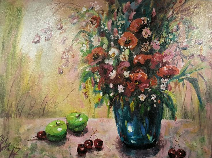 "Olga Kolt Painting, ""Green Apples"" acrylic on hessian, 1110 x 860,  $1200"