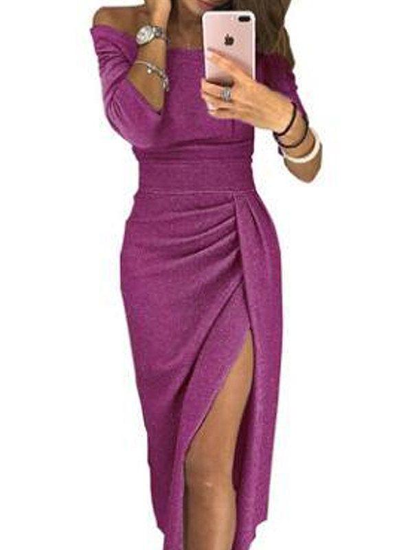 7f6fcb35cdc46 Open Shoulder Slit Plain Bodycon Dress - Sebellamore.com Club Dresses, Fall  Dresses,