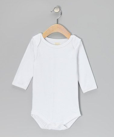 Take a look at this White Long-Sleeve Bodysuit by Tots Fifth Avenue on #zulily today!
