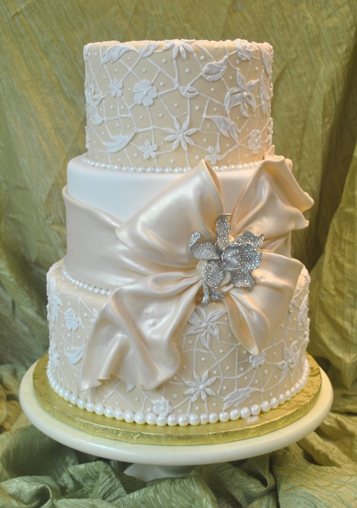 vintage pearls | Ivory and White vintage wedding cake with sugar lace and fondant sash ...