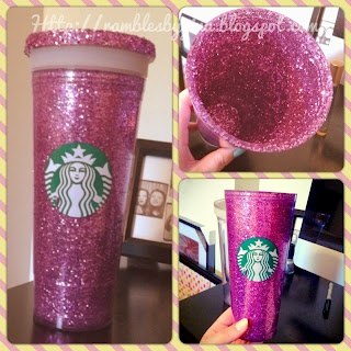Tried it! I used mod podge and super fine glitter (bright blue!) to make this.  I did two coats and it turned out perfect! Only suggestion (besides not doing the lid) is to not get glitter in the top where you screw the two pieces together - DIY Glitter Starbucks Tumbler