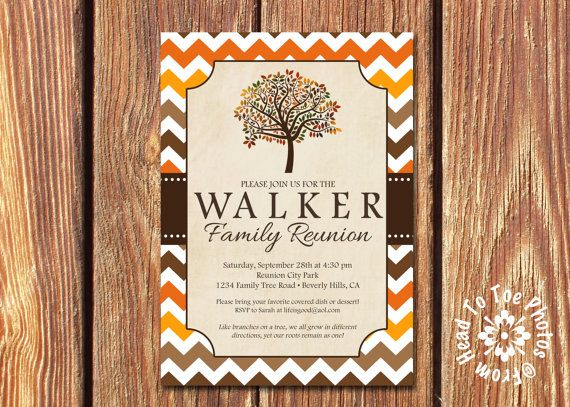 Fall Family Reunion Invitations Pick your by FromHeadtoToeDesigns