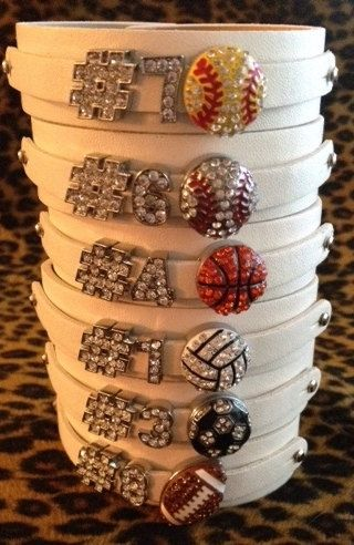 Rhinestone Sports Charm Personalized Jersey Number Bracelets White PU Leather Basketball Football Soccer Baseball Softball Volleyball WANT ONE FOR BASEBALL / SOFTBALL AND VOLLEYBALL!