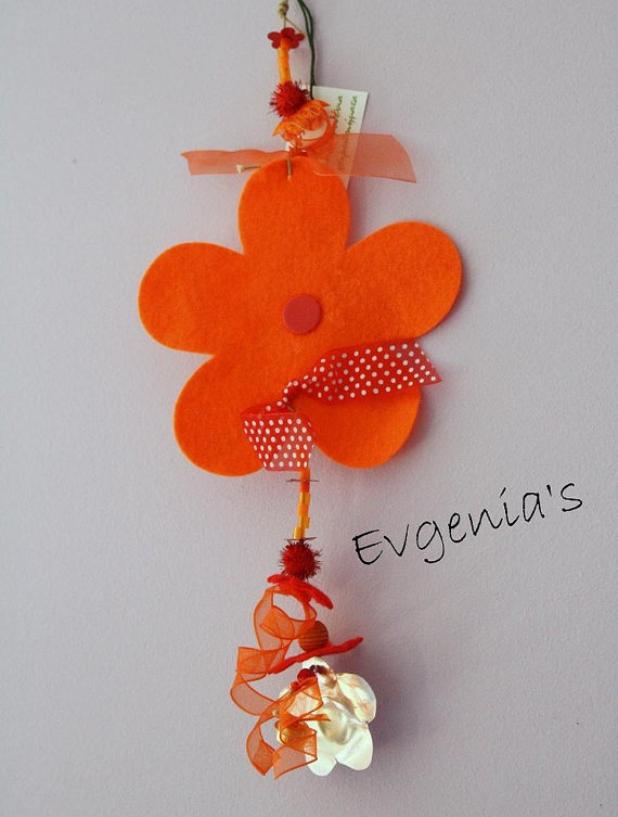 Handmade Orange and Metal Flower with Plastic by EvgeniasOrnaments, $14.00