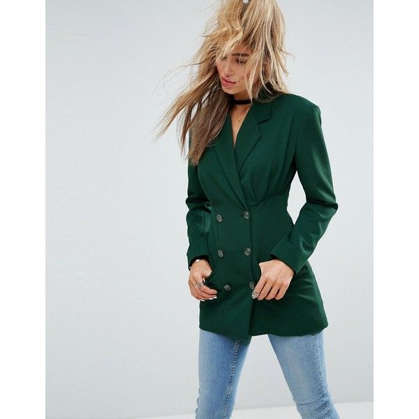 ASOS Tailored Longline Blazer with Nipped in Waist and Military... (109 AUD) ❤ liked on Polyvore featuring outerwear, jackets, blazers, green, green jacket, one-button blazer, prom blazers, long blazer and tall blazer