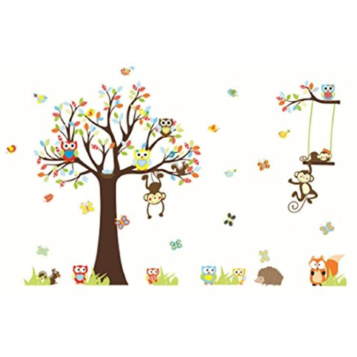 Homespun Lovely Monkeys Tree Wall Stickers 30 x 90 Cm For Kids Room Home Decoration animals Cartoon Pvc Decals Mural Art >>> Read more reviews of the product by visiting the link on the image. (This is an affiliate link and I receive a commission for the sales)