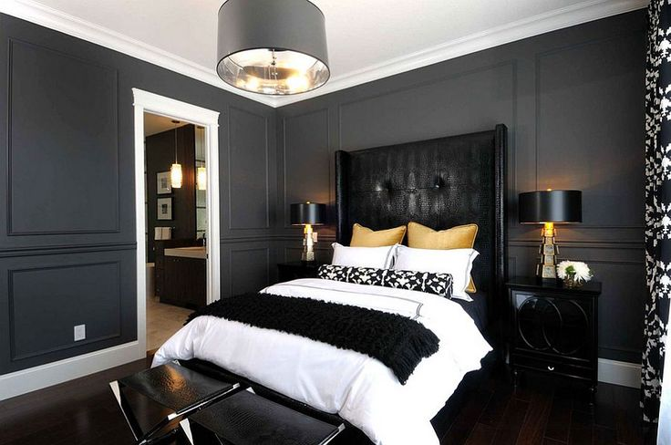 Sophisticated use of black, gold and gray in the bedroom - Decoist