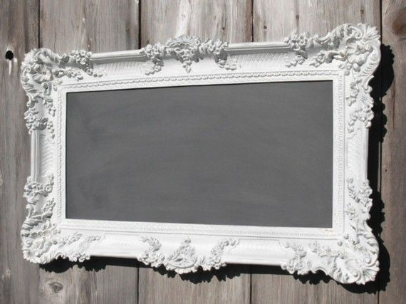 vintage frame and chalkboard: dry-erase would be more convenient, but this is prettier :)