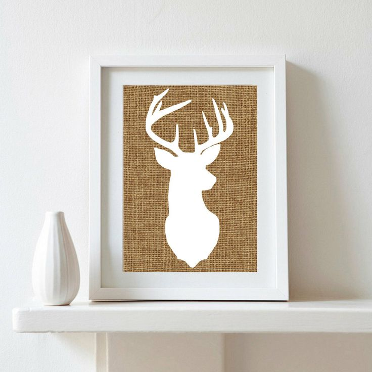 Burlap Deer Silhouette 8x10 Digital Print by DenizenAshPrints