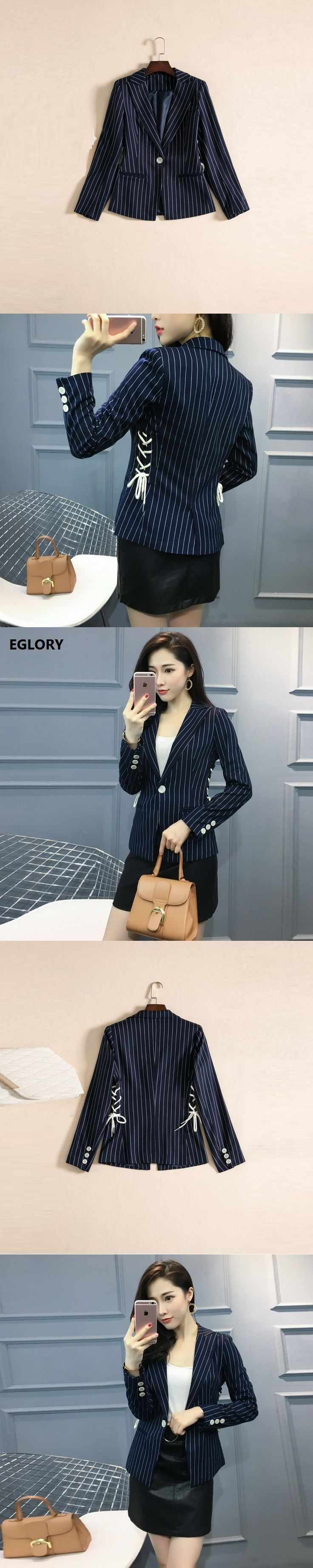 2017 Autumn New Blazer Coat Women Work Office Fashion Cross String Design Striped Print Single Button Dark Blue Blazer Jacket