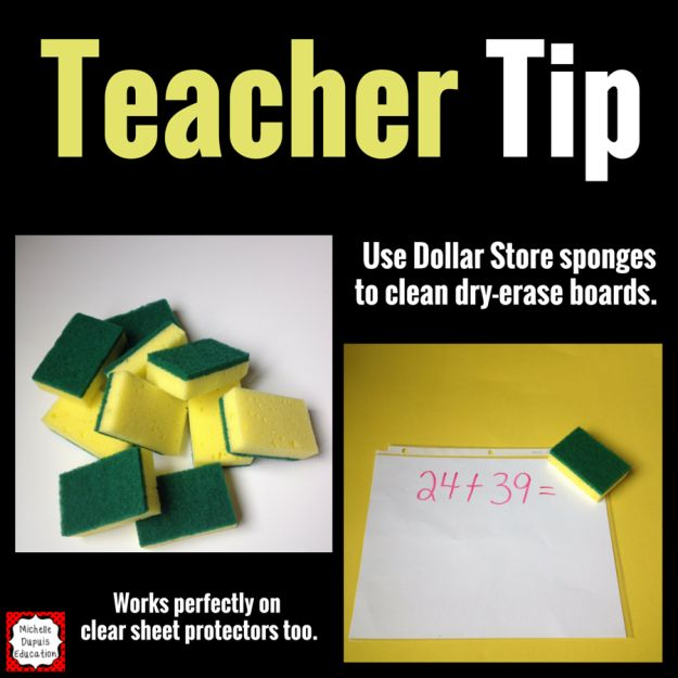 Cut sponges in half to make cheap board erasers (and use clear sheet protectors to make cheap dry erase boards). | 25 Dollar Store Teacher Tips You Prob Haven't Seen Yet