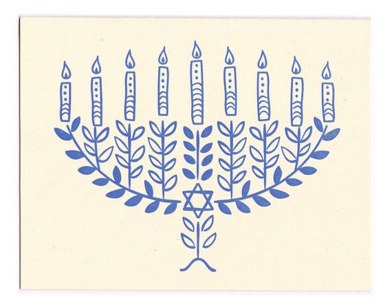 Hannukah Menorah letterpress greeting card by MorrisandEssex