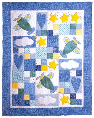 Sky Dreams Baby Quilt Pattern by Country Quilter Airplanes