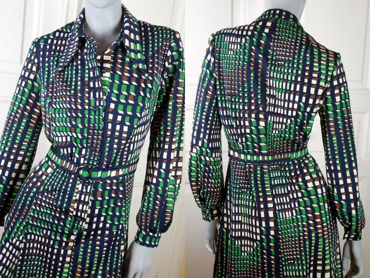Swiss Vintage Midi Dress, Emerald Green Black Brown White Victor Vasarely Op Art Print 1970s European Dress, Wide Collar: Size 10 US, 14 UK by YouLookAmazing on Etsy