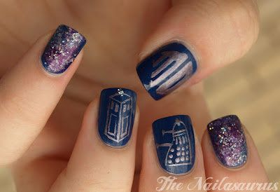 Doctor Who Nail polish art - Complete with the Tardis, a Dalek, the logo, and space.
