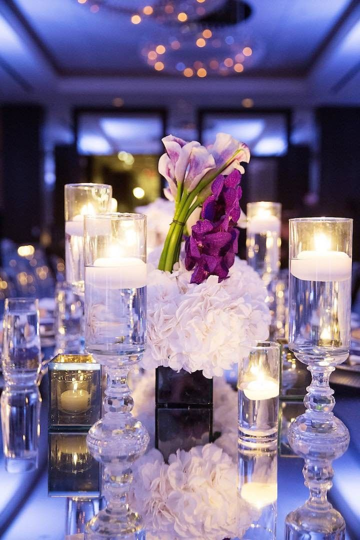 Glamorous ballroom wedding reception centerpiece; Photo: Sarah Kate Photography