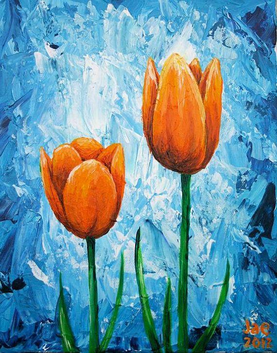 Naranja tulipanes pintura flor pared arte Home Decor 8 x 10