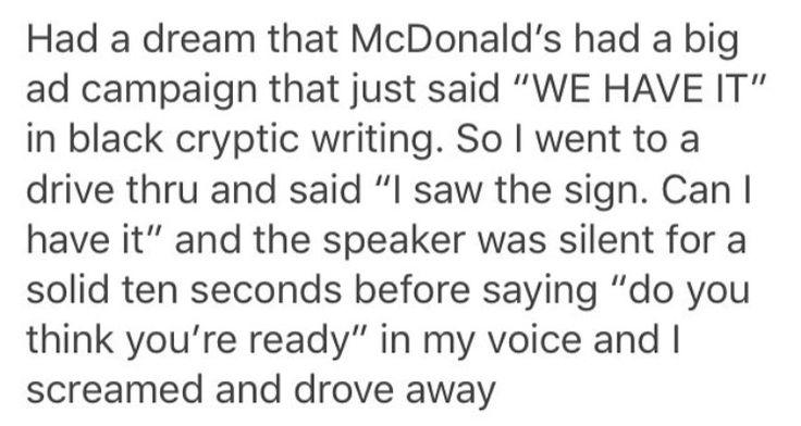 McDonald's. Can i have it. Sign. Billboard. McDonald's advertisment. Drive thru. Dream.