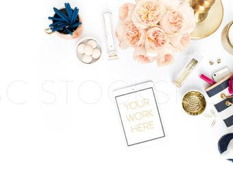 Styled Lifestyle Stock Image Tablet on White by SCstockshop