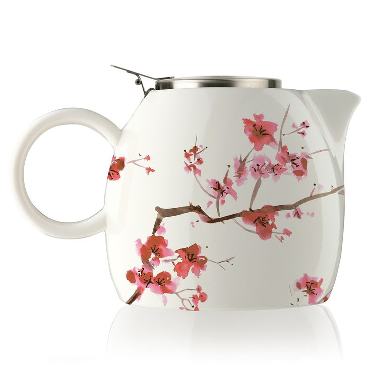 Amazon.com | Tea Forte PUGG 24oz Ceramic Teapot with Improved Stainless Tea Infuser, Loose Leaf Tea Steeping For Two, Cherry Blossoms: Tea-For-One Sets