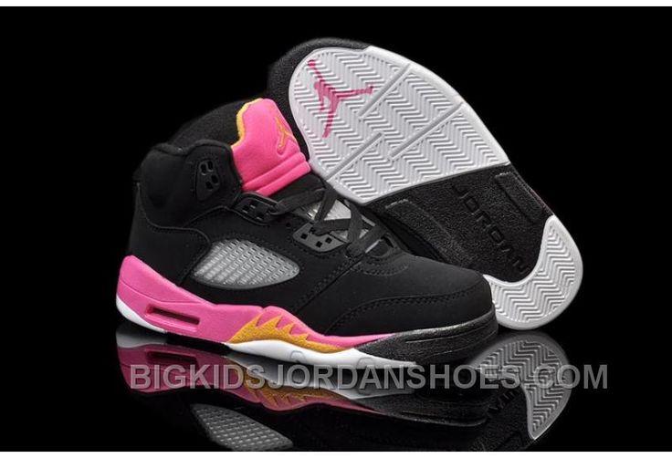 http://www.bigkidsjordanshoes.com/hot-nike-air-jordan-5-kids-black-bright-citrus-fusion-pink-cheap.html HOT NIKE AIR JORDAN 5 KIDS BLACK BRIGHT CITRUS FUSION PINK CHEAP Only $85.00 , Free Shipping!