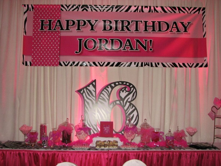 Sweet 16 Party.. Sooo close to our idea, just replace with neon blue!
