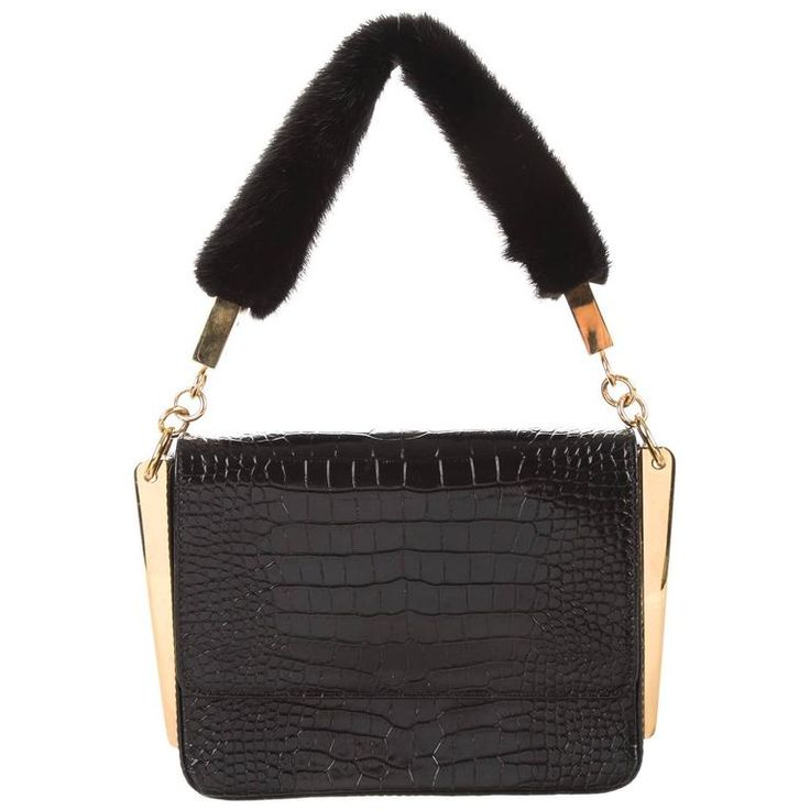 Giuseppe Zanotti Black Leather Gold Fur Evening Top Handle Shoulder Flap Bag | From a collection of rare vintage top handle bags at https://www.1stdibs.com/fashion/handbags-purses-bags/top-handle-bags/