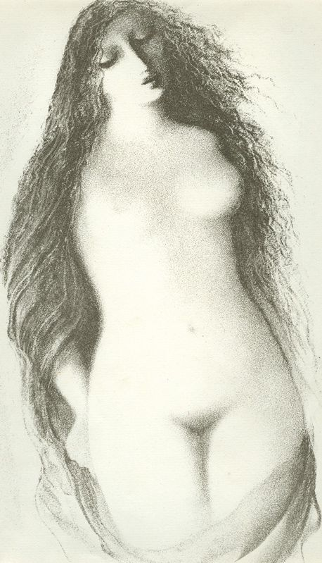 """Illustration by Ludmila Jiřincová, """"Longhaired nude Girl"""", lithography."""