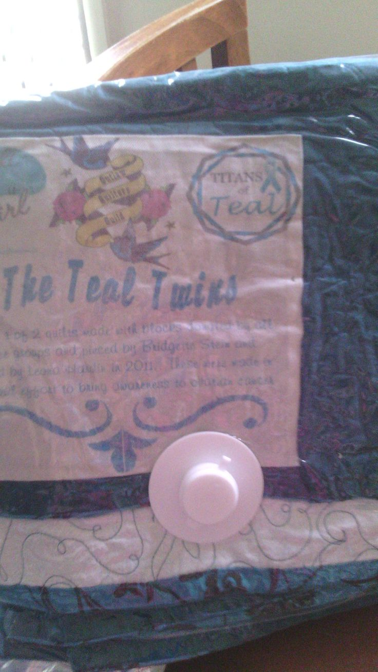 """Titans if Teal Quilt """"TEAL TWINS"""" in collaboration with We Fight Like A Girl Final touches thanks to Bridgette Stein"""