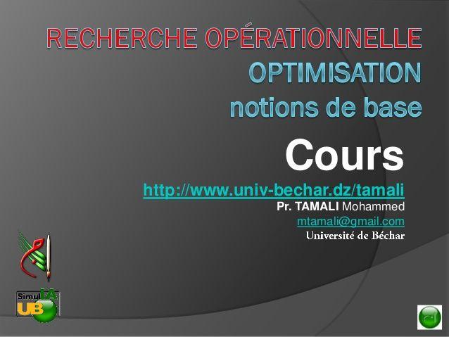 Recherche Opérationnelle - Optimisation (notions de base)