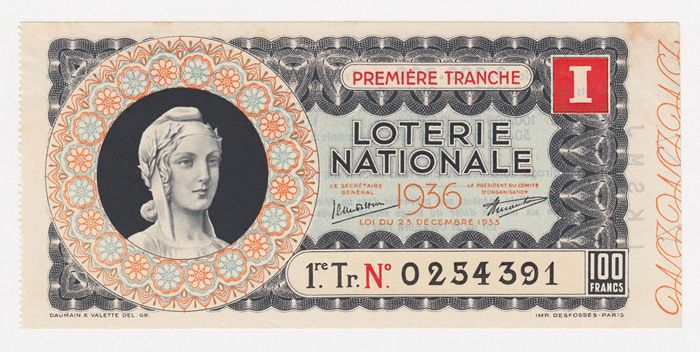 Lottery ticket from France, 1936.